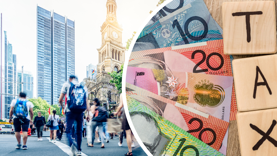 Pictured: Australian cash and TAX written out, busy Sydney street. Images: Getty