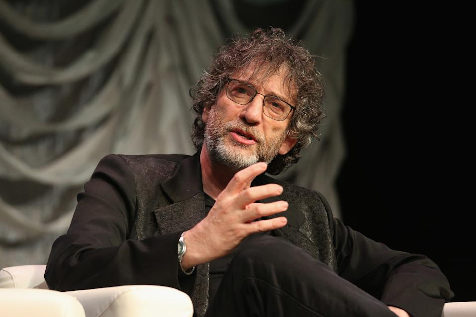 "AUSTIN, TEXAS - MARCH 09:  Neil Gaiman speaks onstage at ""Featured Session: Neil Gaiman"" at the Austin Convention Center during the SXSW Conference And Festival on March 9, 2019 in Austin, Texas.  (Photo by Gary Miller/FilmMagic)"