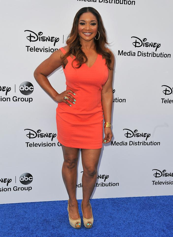 BURBANK, CA - MAY 19:  Actress Tamala Jones arrives at the Disney Media Networks International Upfronts at Walt Disney Studios on May 19, 2013 in Burbank, California.  (Photo by Angela Weiss/Getty Images)