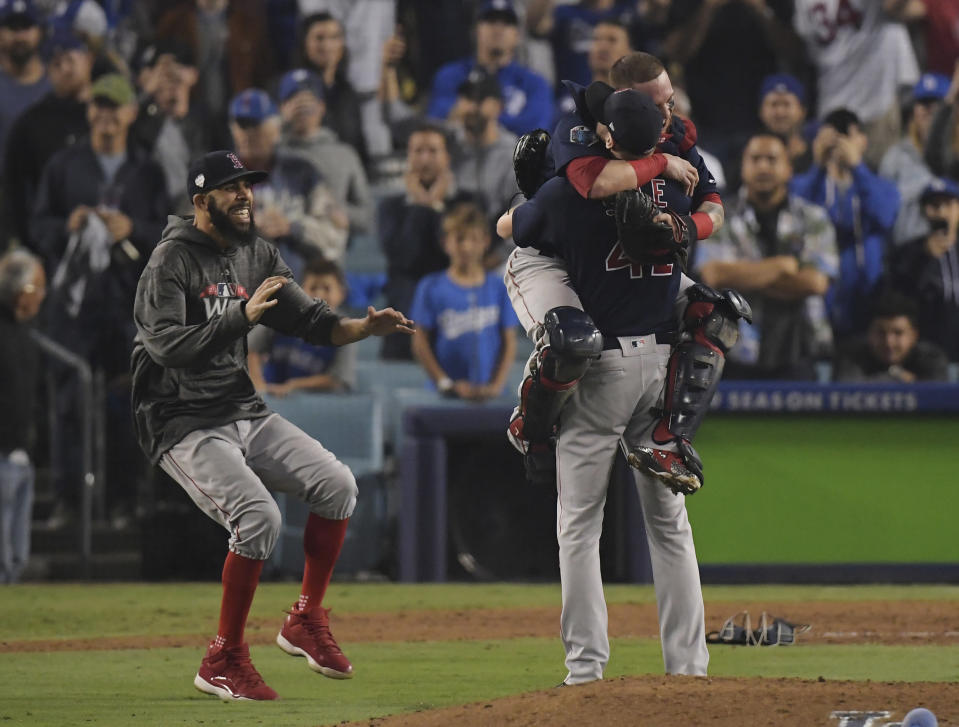 It was redemption for David Price, left, and euphoria for Christian Vasquez and Chris Sale on Sunday night. (AP)