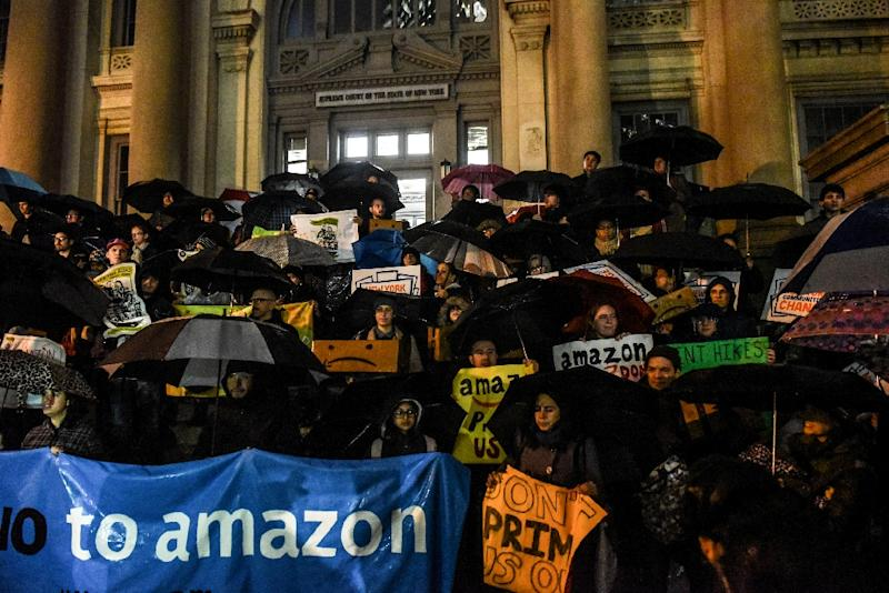 Amazon dropped its plans for a new headquarters in New York City following a series of protests including this one on November 26 (AFP Photo/STEPHANIE KEITH)