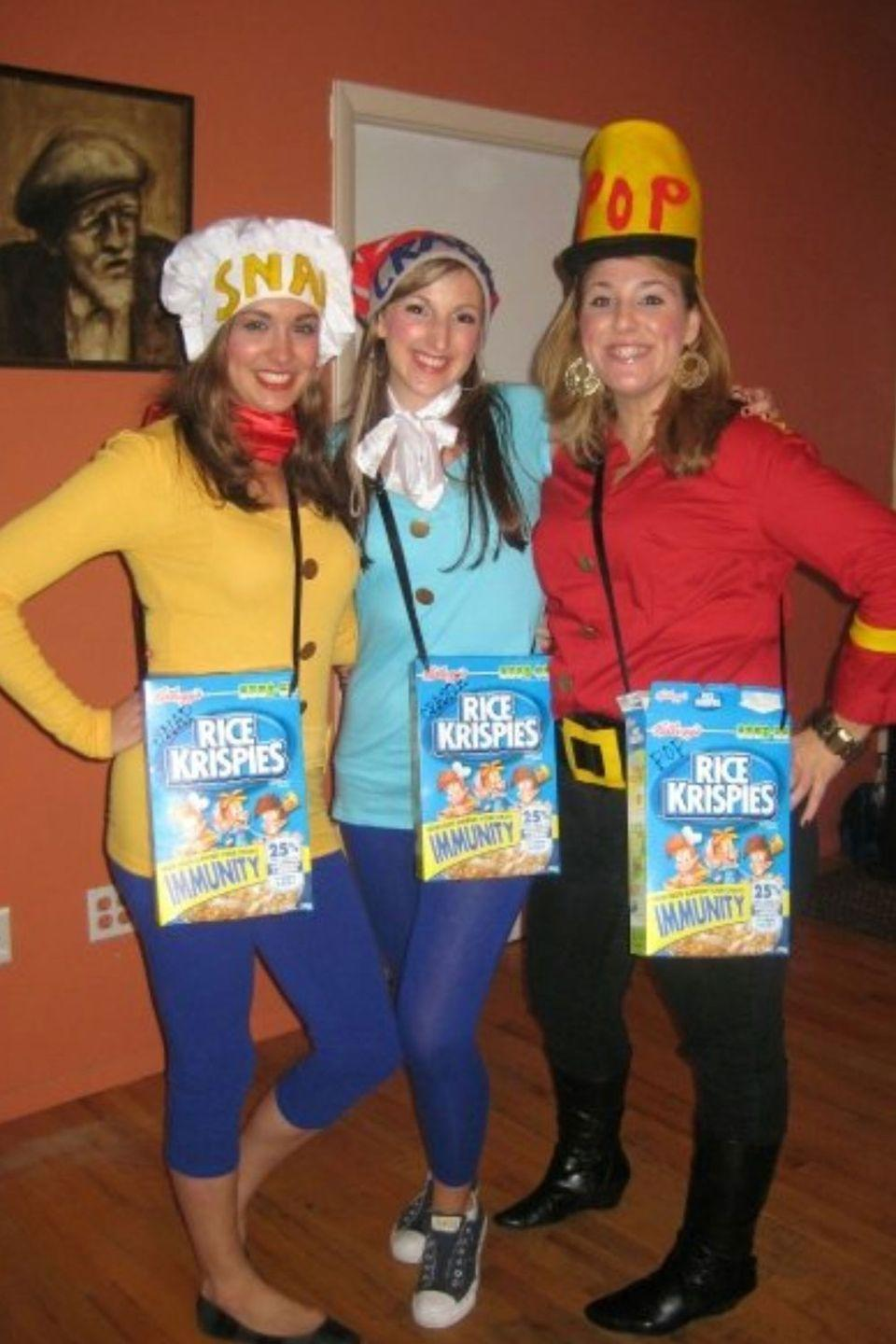 "<p>The Rice Krispies elves is the kind of group costume that everyone will love. Toss in someone wearing a Michael Myers costume and then you have a <em>cereal</em> killer.</p><p><strong>RELATED: </strong><a href=""https://www.goodhousekeeping.com/holidays/halloween-ideas/g1422/group-halloween-costumes/"" rel=""nofollow noopener"" target=""_blank"" data-ylk=""slk:45 Group Halloween Costumes That Prove You're Squad Goals"" class=""link rapid-noclick-resp"">45 Group Halloween Costumes That Prove You're Squad Goals</a></p>"