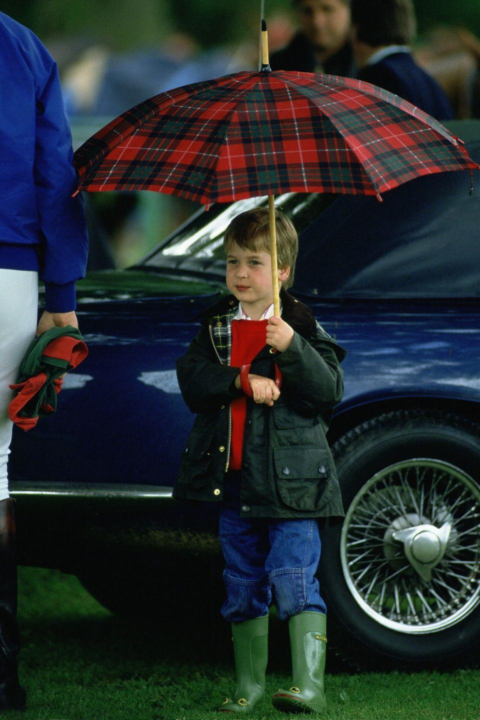 <p>From a young age, Prince William knew that a plaid umbrella was the perfect accessory for a pair of Wellies and a Barbour jacket.</p>
