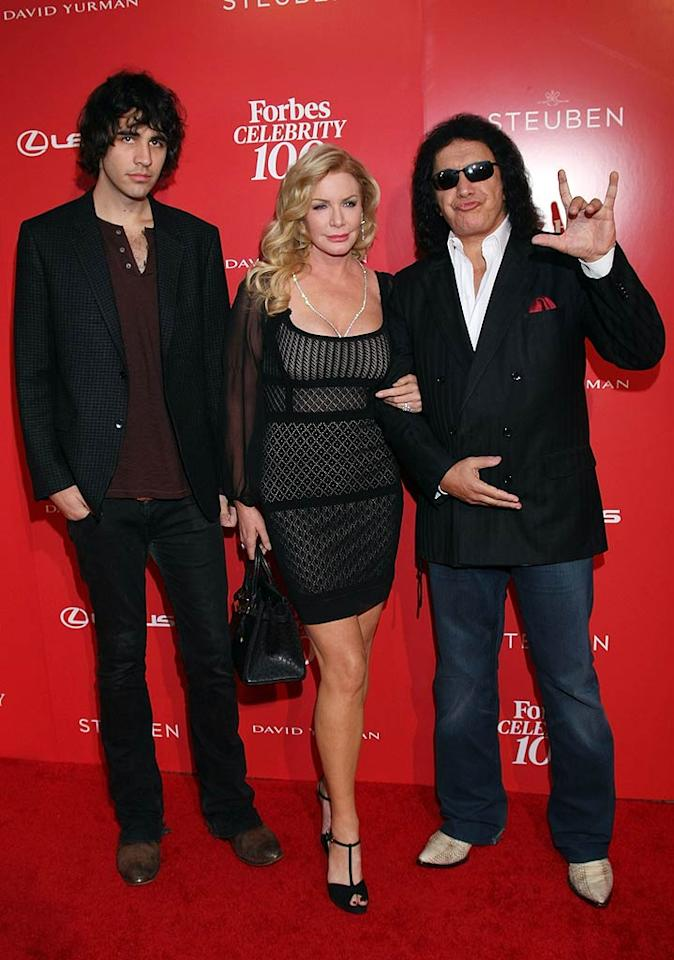 """KISS bassist Gene Simmons -- who's been making a killing hawking band-related paraphernalia in recent years -- arrived with his family and reality show co-stars including long-time girlfriend Shannon Tweed and their son, Nick. Arnold Turner/<a href=""""http://www.wireimage.com"""" target=""""new"""">WireImage.com</a> - June 9, 2011"""