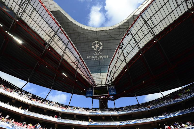 The UEFA Champions League logo is seen on the Luz stadium in Lisbon, on May 24, 2014 (AFP Photo/Miguel Riopa)