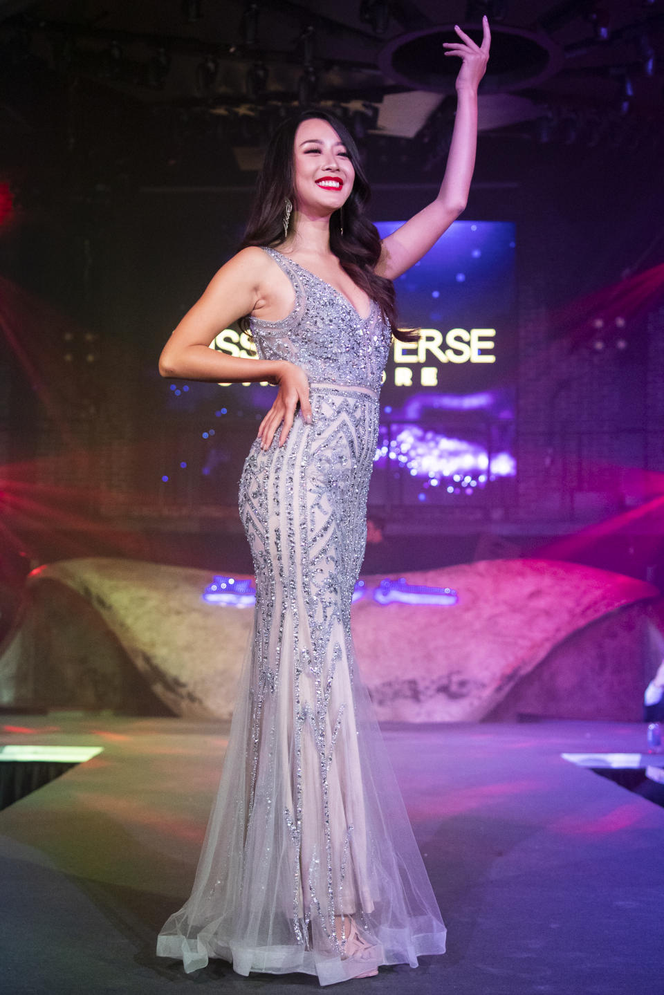 Cheryl Yao competing in the evening gown segment during the 2019 Miss Universe Singapore at Zouk.