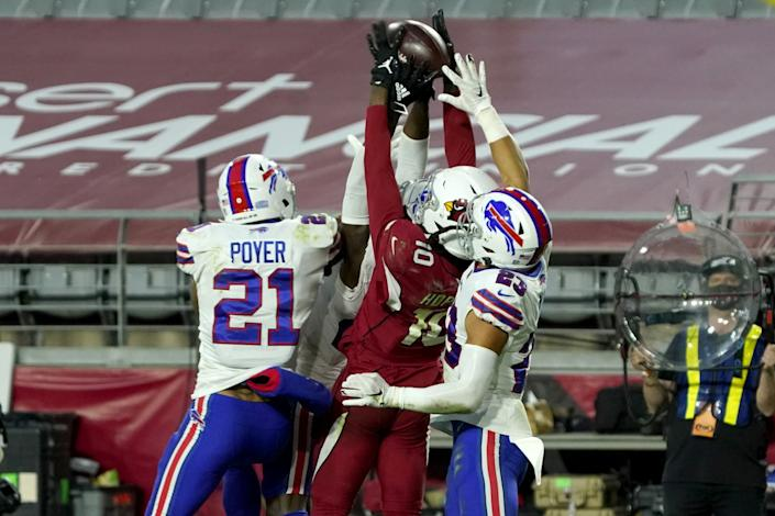 Cardinals receiver DeAndre Hopkins (10) pulls in the game-winning touchdown pass against the Bills in November.