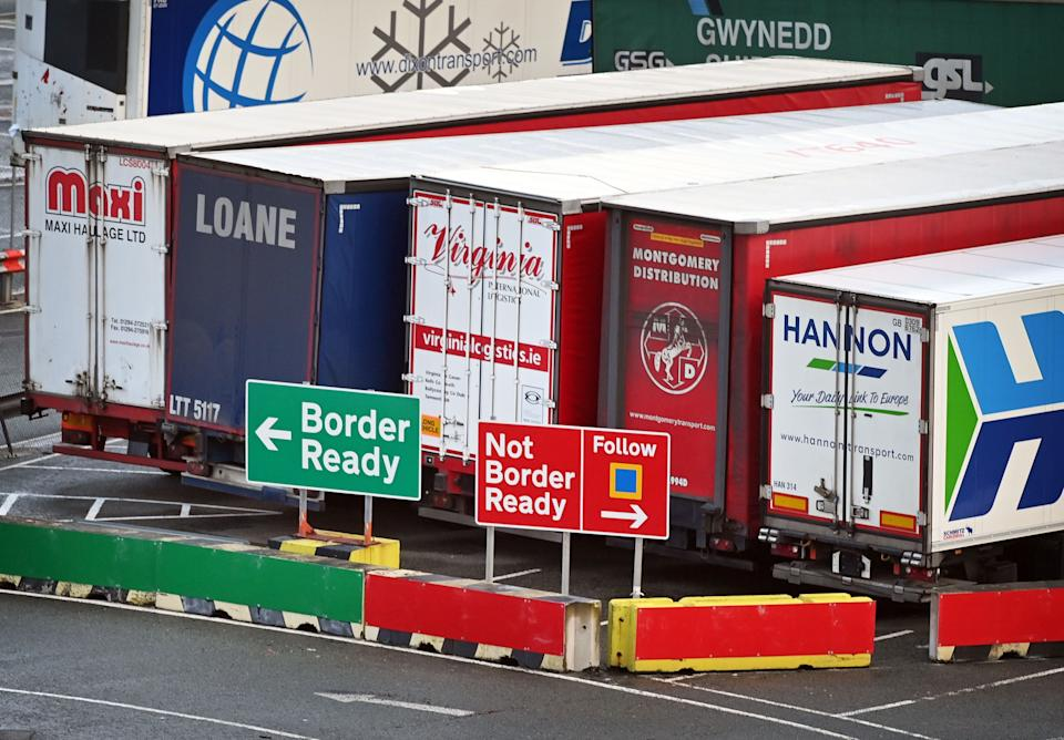 <p>Lorries waiting to travel to Ireland via Holyhead port in Anglesey</p> (AFP via Getty Images)