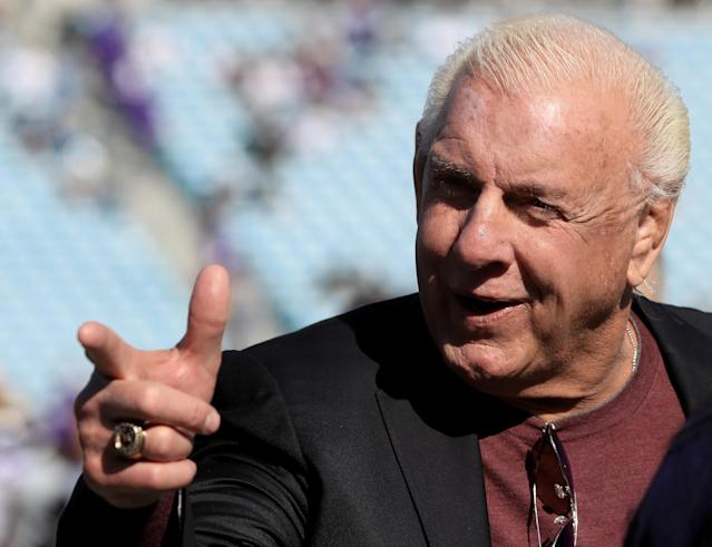 Former WWE champion Ric Flair before the game between the Minnesota Vikings and Jacksonville Jaguars at EverBank Field on December 11, 2016 in Jacksonville, Florida. (Photo by Sam Greenwood/Getty Images)