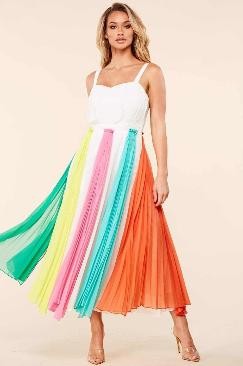 <p>Celebrate your love for color with this gorgeous <span>Mirelle M. Chiffon Colorful Church Dress</span> ($130).</p>