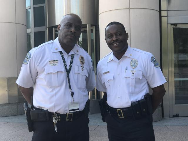 Ferguson Police Commander Frank McCall and Ferguson Police Chief Delrish Moss at the federal courthouse in St. Louis on Tuesday (Ryan J. Reilly / HuffPost)
