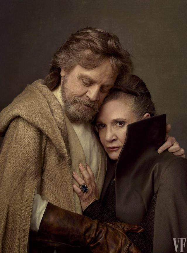 """Carrie Fisher and Mark Hamill in a photoshoot for 'Star Wars: The Last Jedi'(Photo: <a href=""""http://www.vanityfair.com/hollywood/photos/2017/05/star-wars-the-last-jedi-portraits-annie-leibovitz"""" rel=""""nofollow noopener"""" target=""""_blank"""" data-ylk=""""slk:Vanity Fair"""" class=""""link rapid-noclick-resp"""">Vanity Fair</a>)."""