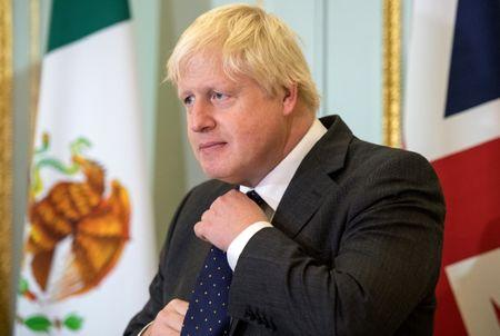 Britain's Foreign Secretary Boris Johnson at a press conference with Mexican Foreign Minister Luis Videgaray in London