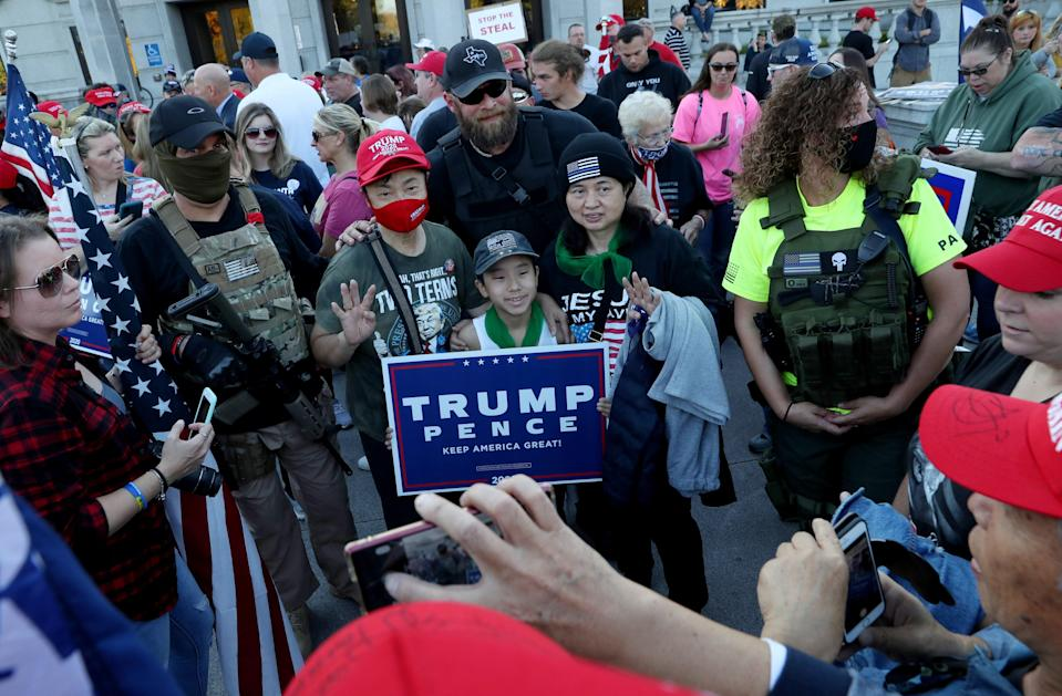 <p>Protesters have taken to the streets across the US while Trump continues to refuse to officially concede the election</p> (REUTERS)