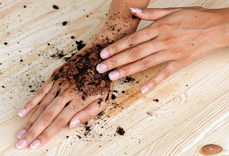 coffee hand scrub with ground coffee (wet) , mean to beauty or cosmetic and health care