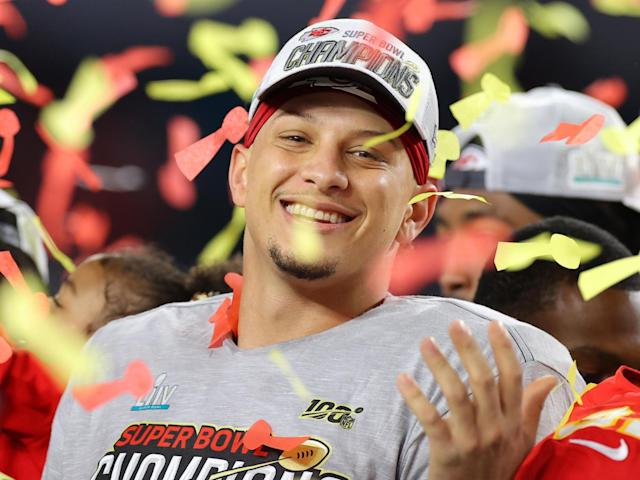 Patrick Mahomes of the Kansas City Chiefs celebrates after defeating San Francisco 49ers 31-20 in Super Bowl LIV: (2020 Getty Images)