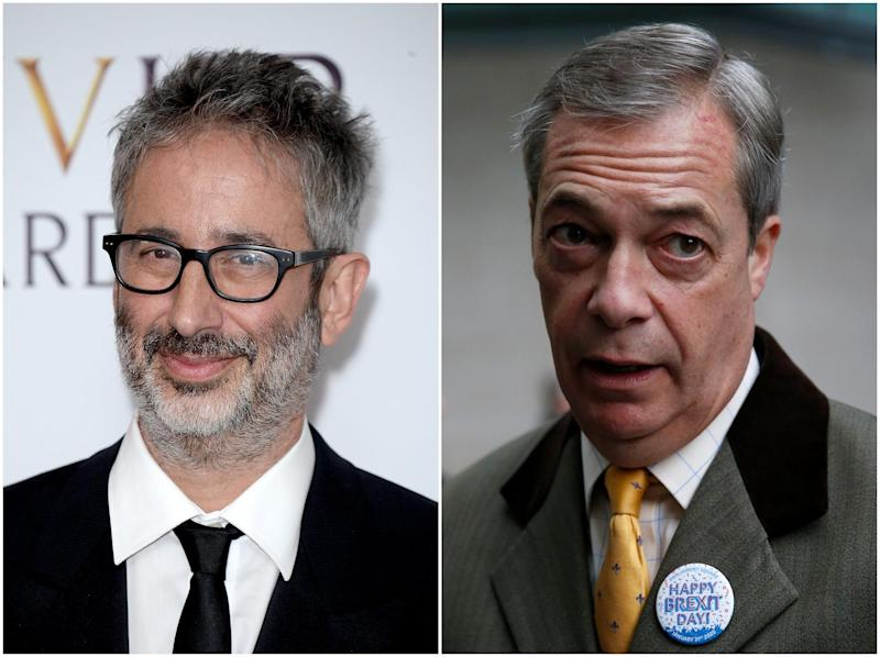 Baddiel (left) criticised Farage for sharing a video singing 'Rule! Britannia': Getty Images