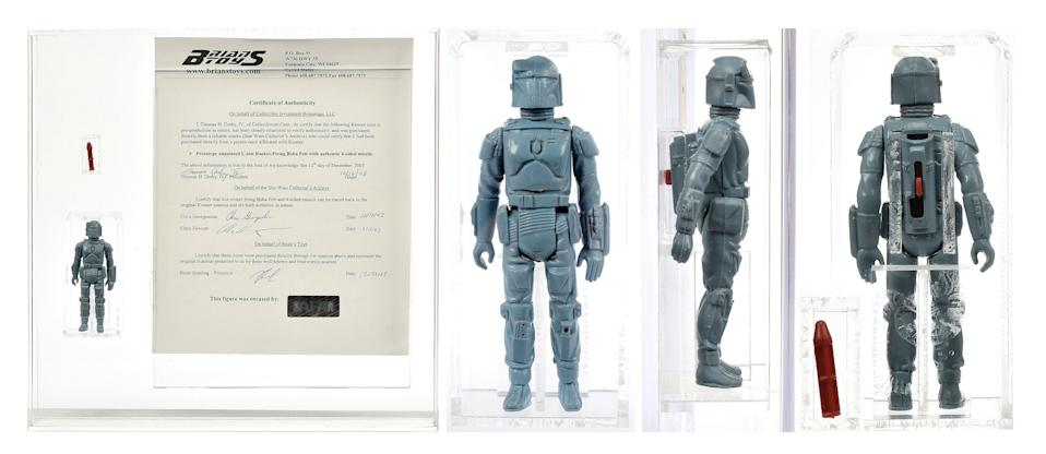 A similar Boba Fett figure to this one, with added copyright mark on the leg, was being sold for $350,000 (£280,000) at Star Wars Celebration. (Credit: Vectis Auctions/Press Association Images)