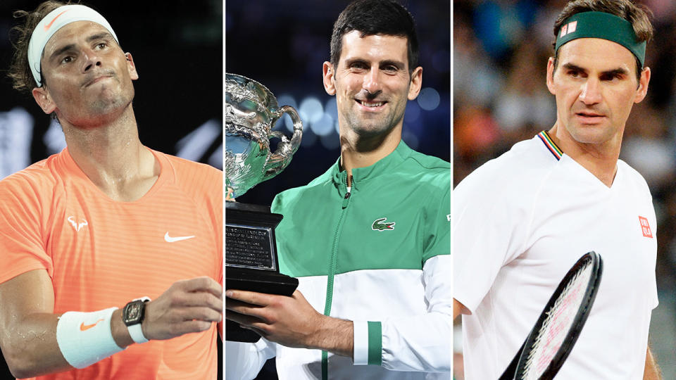 Novak Djokovic, Rafael Nadal and Roger Federer, pictured here in action on the tennis court.