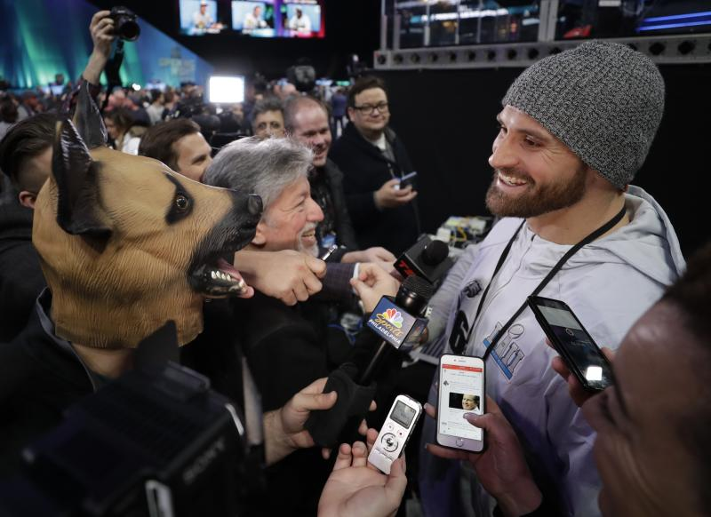 Chris Long got a good laugh at some of the lighter moments of NFL media night on Monday. (AP)