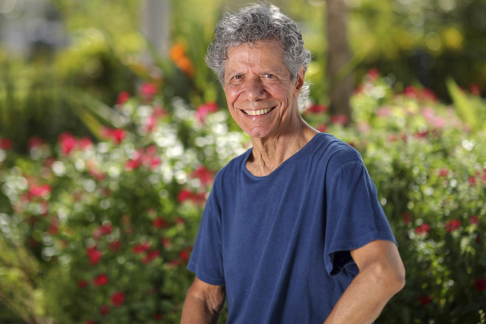 """FILE - Jazz pianist and composer Chick Corea poses for a portrait in Clearwater, Fla., on Sept. 4, 2020, to promote his new double album """"Plays."""" Corea, a towering jazz pianist with a staggering 23 Grammy awards who pushed the boundaries of the genre and worked alongside Miles Davis and Herbie Hancock, has died. He was 79. Corea died Tuesday, Feb. 9, 2021, of a rare for of cancer, his team posted on his web site. His death was confirmed by Corea's web and marketing manager, Dan Muse. (Mike Carlson/Invision/AP, File)"""