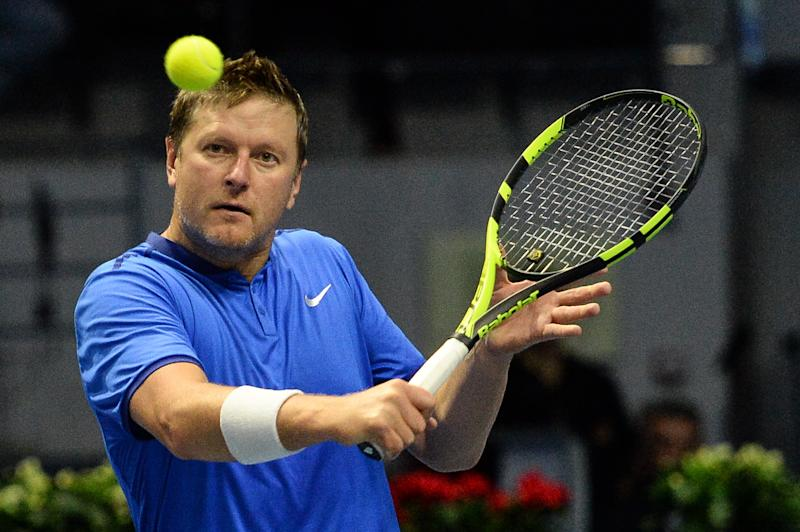 ST PETERSBURG, RUSSIA SEPTEMBER 25, 2016: Yevgeny Kafelnikov returns the ball in a mixed doubles match as part of the tennis legends show at the 2016 St. Petersburg Open. Andrei Ivanov/TASS (Photo by Andrei Ivanov\TASS via Getty Images)