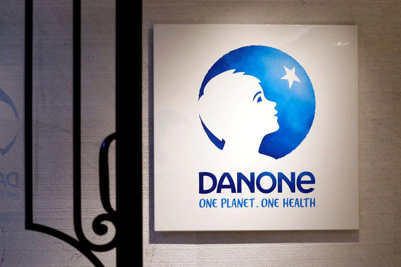 FILE PHOTO: The logo of French food group Danone is seen at the company's headquarters in Paris