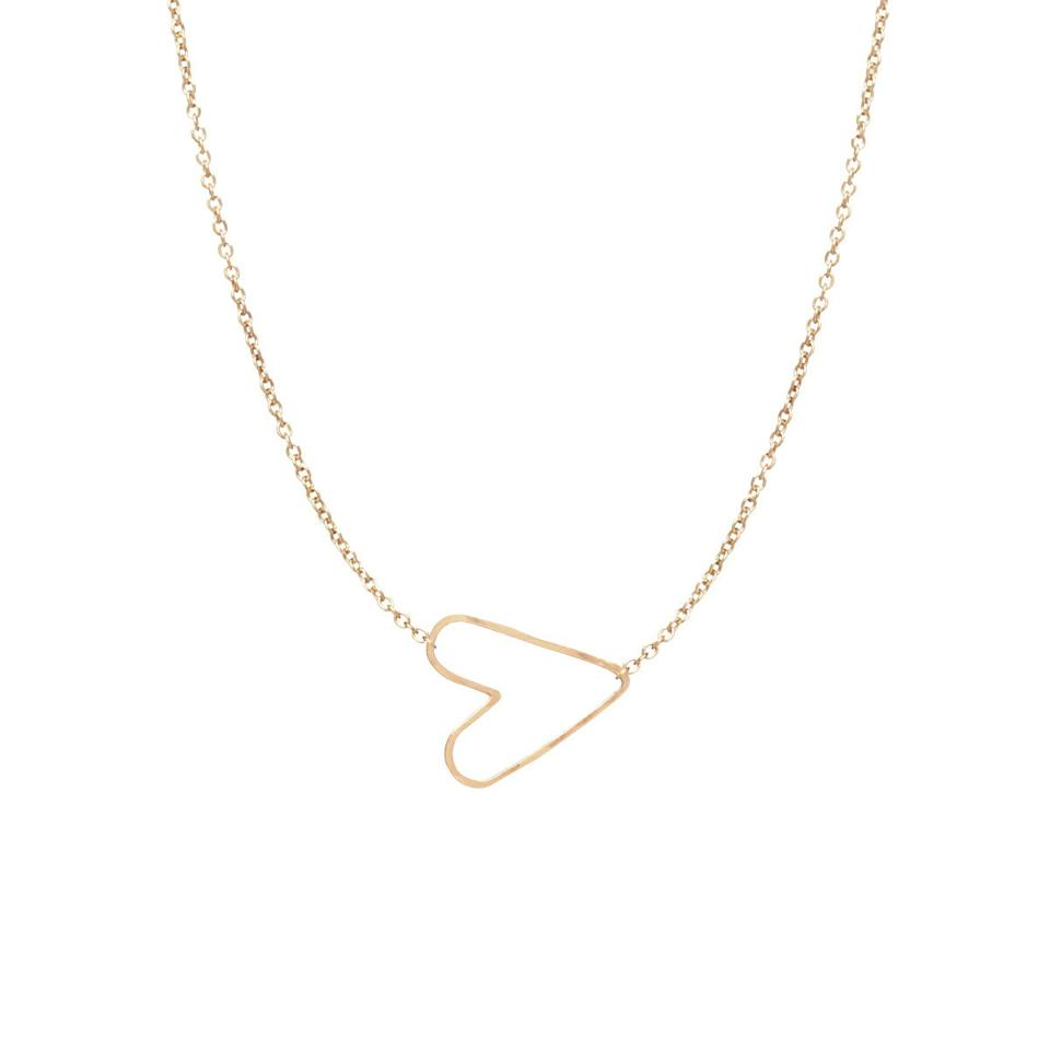 """<p>It's true: When you become a mom, your heart starts beating outside of your body. Give her a literal representation of that shift with this pretty heart necklace. <em>(Tiny Hammered Heart Choker Necklace, $220, <a rel=""""nofollow"""" href=""""https://zoechicco.com/products/tiny-hammered-heart-necklace?mbid=synd_yahoostyle"""">Zoe Chicco</a>)</em></p>"""