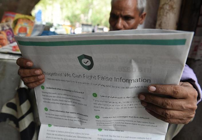 Many first-time internet users in India are unskilled in discerning fact from fiction, making the South Asian nation fertile ground for misinformation proliferation (AFP Photo/Prakash SINGH)