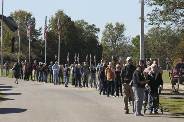Voters queue to cast ballots in Tupelo, Mississippi