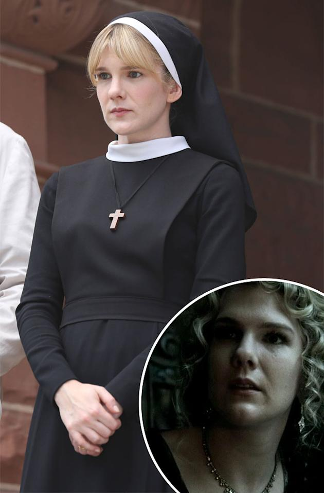 <b>Lily Rabe  </b><br><br><b>You Know Her From:</b> Her Season 1 role as Nora (inset), the nutty-as-a-fruitcake wife of the murder house's original owner, Dr. Charles Montgomery.   <br><br><b>Now She Plays:</b> Sister Mary Eunice, the timid nun who cowers under the rule of Sister Jude. She also has a weird habit of taking buckets of some sort of meat out into the forest late at night...