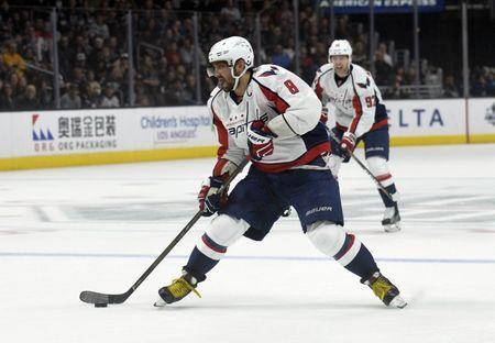 March 11, 2017; Los Angeles, CA, USA; Washington Capitals left wing Alex Ovechkin (8) moves in on goal against the Los Angeles Kings during the first period at Staples Center. Mandatory Credit: Gary A. Vasquez-USA TODAY Sports