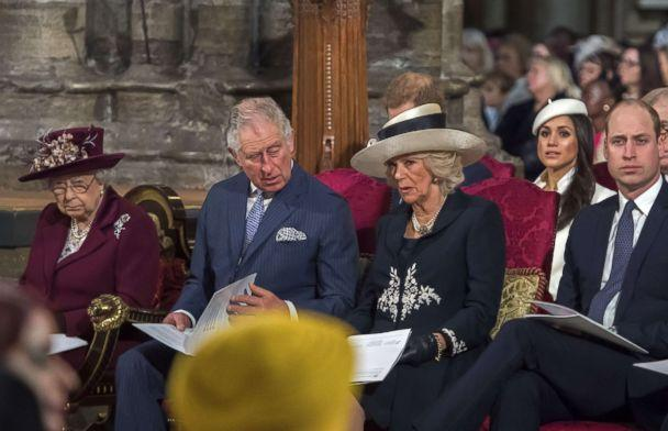 PHOTO: Queen Elizabeth II, Prince Charles, Duchess Camilla, Prince Harry's fiancee Meghan Markle and Prince William attend a Commonwealth Day Service at Westminster Abbey in central London, on March 12, 2018. (Paul Grover/AFP/Getty Images)