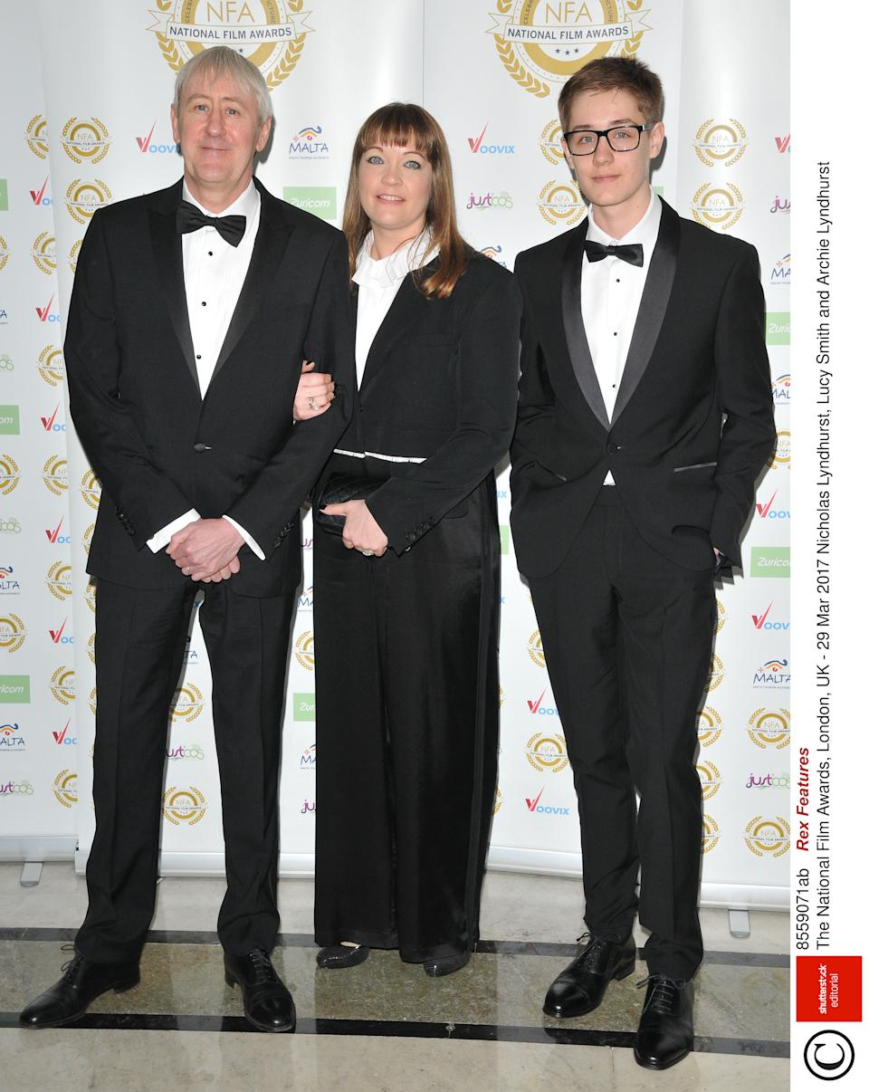 Archie Lyndhurst (right) with his parents Nicholas Lyndhurst and Lucy SmithRex Features