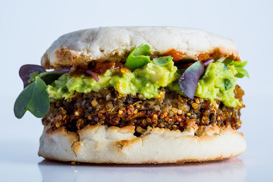 "With sweet potato as a binder, quinoa for protein, and meaty mushrooms for depth, this veggie burger beats anything in the frozen foods aisle. Learn how to make this recipe and more in our <a href=""http://www.surlatable.com/product/CFA-3074077/?utm_source=bonappetit&utm_medium=barecipe&utm_campaign=quinoaburger"" rel=""nofollow noopener"" target=""_blank"" data-ylk=""slk:online cooking class with Sur la Table"" class=""link rapid-noclick-resp"">online cooking class with Sur la Table</a>. <a href=""https://www.bonappetit.com/recipe/stellar-quinoa-burger?mbid=synd_yahoo_rss"" rel=""nofollow noopener"" target=""_blank"" data-ylk=""slk:See recipe."" class=""link rapid-noclick-resp"">See recipe.</a>"