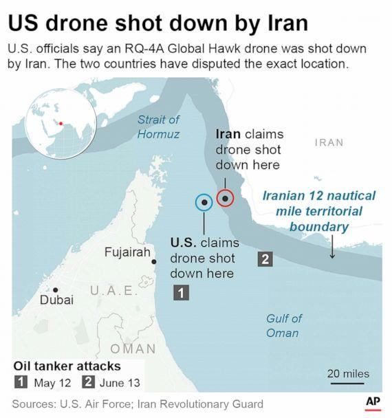 PHOTO: Graphic pinpoints the drone shooting locations provided by the U.S. and Iran and shows how they are conflict in location. (AP)