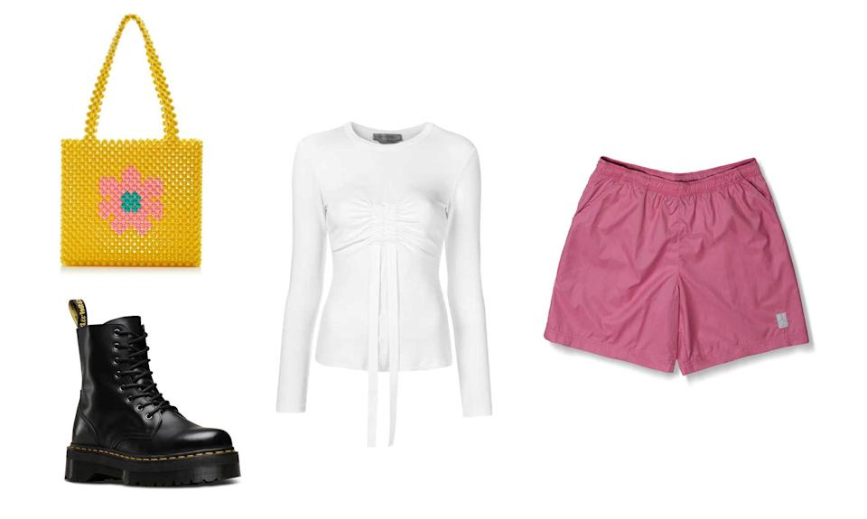 """<p>As we know, there's nothing Rihanna can't pull off. So, when trying to copy RiRi's vibrant Coachella look, think about pairing that one vibrant piece with neutrals. However, keep things fun with the silhouettes you choose.<br>Sportmax, Long Sleeved Top, $231,<a rel=""""nofollow noopener"""" href=""""https://fave.co/2PMnMxD"""" target=""""_blank"""" data-ylk=""""slk:farfetch.com"""" class=""""link rapid-noclick-resp""""> farfetch.com</a><br>Dr. Martens, $170, <a rel=""""nofollow noopener"""" href=""""https://fave.co/2NOg4Gb"""" target=""""_blank"""" data-ylk=""""slk:drmartens.com"""" class=""""link rapid-noclick-resp"""">drmartens.com</a><br>JawxJaw Shop, Classic Short, $125,<a rel=""""nofollow noopener"""" href=""""https://fave.co/2xnhoXb"""" target=""""_blank"""" data-ylk=""""slk:jawxjawshop.com"""" class=""""link rapid-noclick-resp""""> jawxjawshop.com</a><br>Susan Alexandra, Joni Bag, $265, susanalexandra.com </p>"""