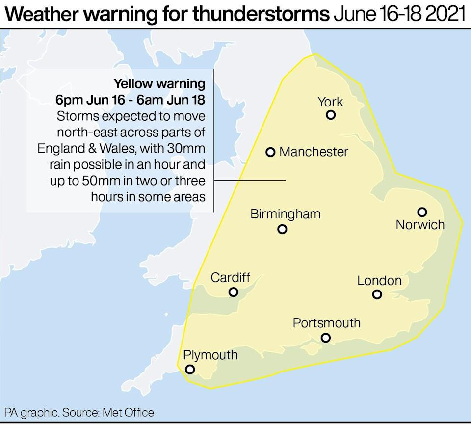 Weather warning for thunderstorms June 16-18 (PA graphics)