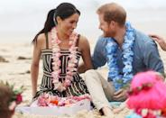 """<p>The couple only had eyes for each other when they met the OneWave awareness group for mental health and wellbeing <a href=""""https://www.cosmopolitan.com/uk/fashion/celebrity/a23919148/meghan-markle-castaner-wedges/"""" rel=""""nofollow noopener"""" target=""""_blank"""" data-ylk=""""slk:in Sydney."""" class=""""link rapid-noclick-resp"""">in Sydney. </a></p>"""