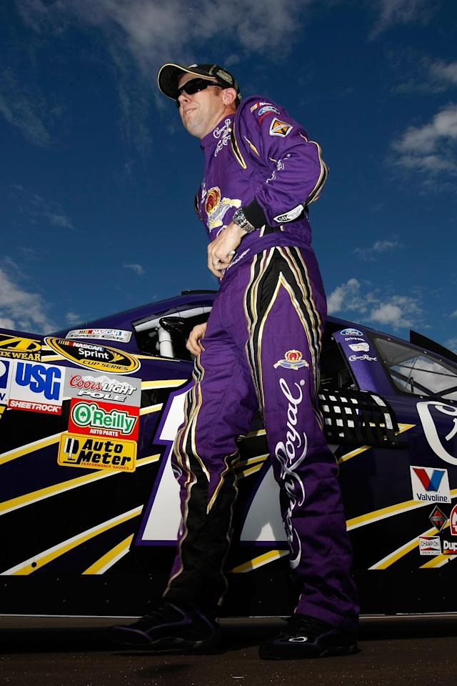 AVONDALE, AZ - NOVEMBER 12: Matt Kenseth, driver of the #17 Crown Royal Ford, looks on after qualifying for the NASCAR Sprint Cup Series Kobalt Tools 500 at Phoenix International Raceway on November 12, 2011 in Avondale, Arizona. (Photo by Jonathan Ferrey/Getty Images)