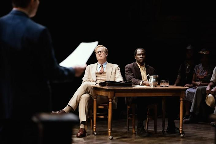 "Jeff Daniels and Gbenga Akinnagbe in Harper's Lee's ""To Kill a Mockingbird"" by Aaron Sorkin."