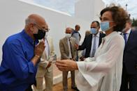UNESCO Director-General Audrey Azoulay inaugurated the cemetery on Wednesday, here seen meeting Rachid Koraichi