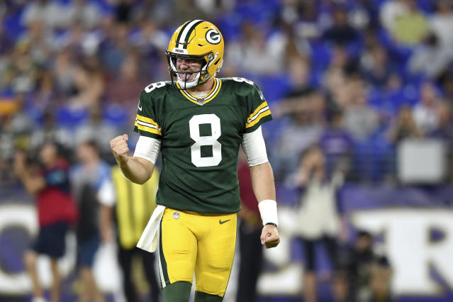 Green Bay Packers quarterback Tim Boyle (8) reacts after throwing a touchdown pass -to wide receiver Darrius Shepherd during the second half of an NFL football preseason game against the Baltimore Ravens, Thursday, Aug. 15, 2019, in Baltimore. (AP Photo/Gail Burton)