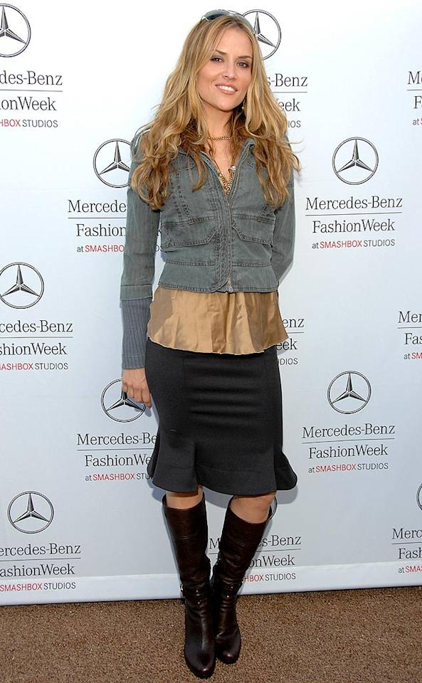 "Charlie Sheen's fiancee Brooke Mueller donned a confusing color-blocked ensemble. That cropped denim jacket has got to go! Jean-Paul Aussenard/<a href=""http://www.wireimage.com"" target=""new"">WireImage.com</a> - March 12, 2008"
