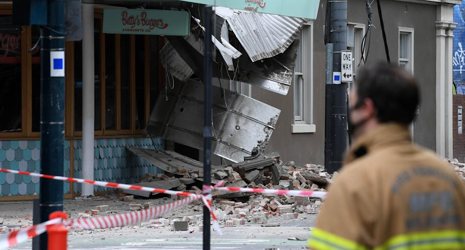 Damage to the exterior of Betty's Burgers on Chapel Street in Windsor following an earthquake, Melbourne. Source: AAP