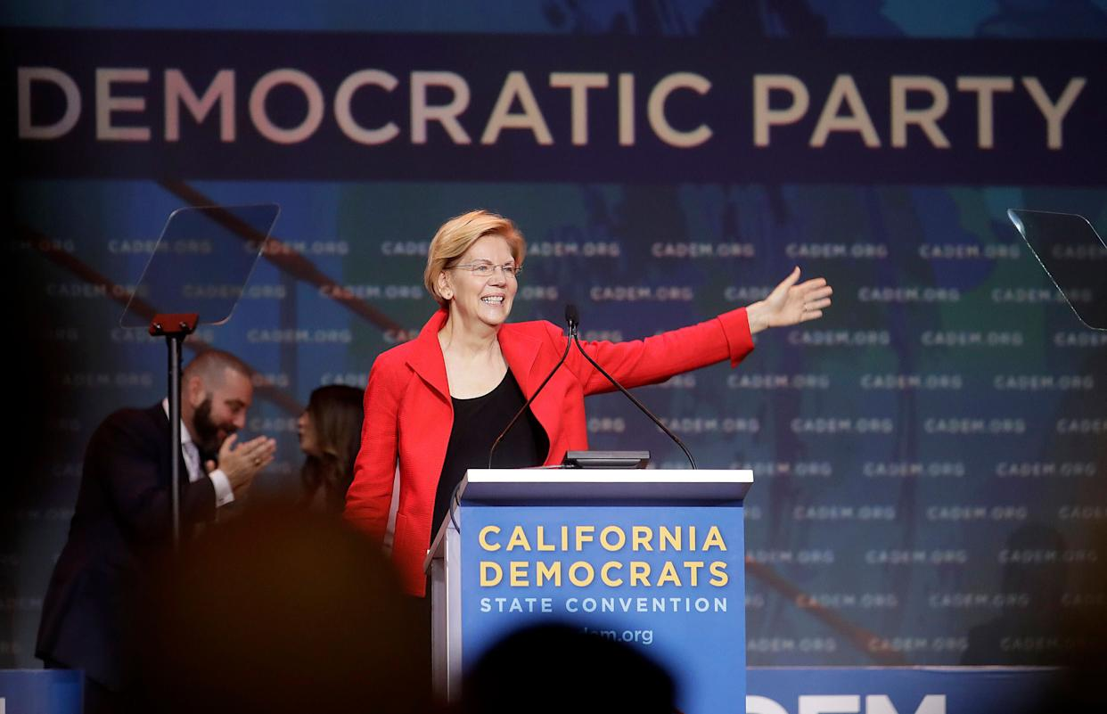 Sen. Elizabeth Warren (D-Mass.) used a Saturday speech at the California Democratic convention to take a subtle jab at Biden. (Photo: ASSOCIATED PRESS/Jeff Chiu)