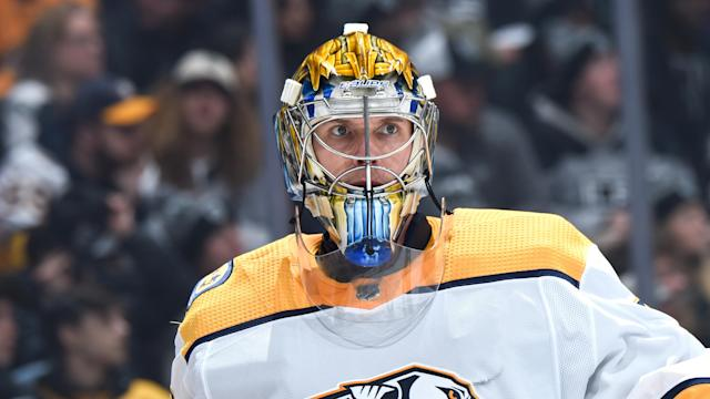 Rinne scores first goal by a goaltender since Mike Smith in 2013. (Photo by Adam Pantozzi/NHLI via Getty Images)
