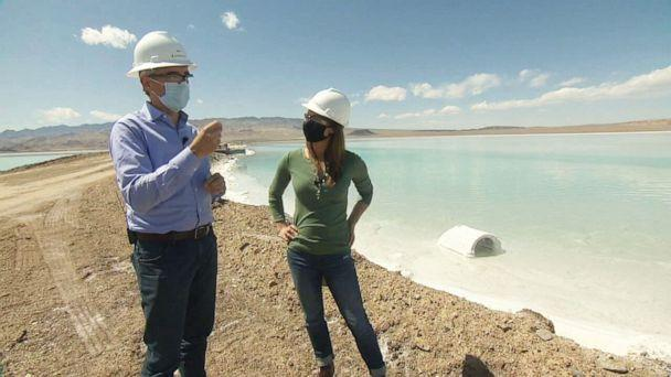 PHOTO: ABC News Chief Meteorologist Ginger Zee and Albemarle Global Business Director Eric Norris tour the company's lithium mine in Silver Peak, Nevada, on April 13, 2021. (ABC News)
