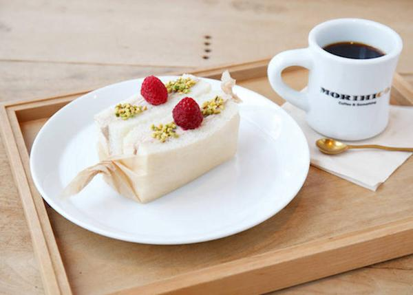 """▲ """"Sweet sandwich and coffee set"""" 680 yen. Their morning coffee is a paper drip served in a mug."""