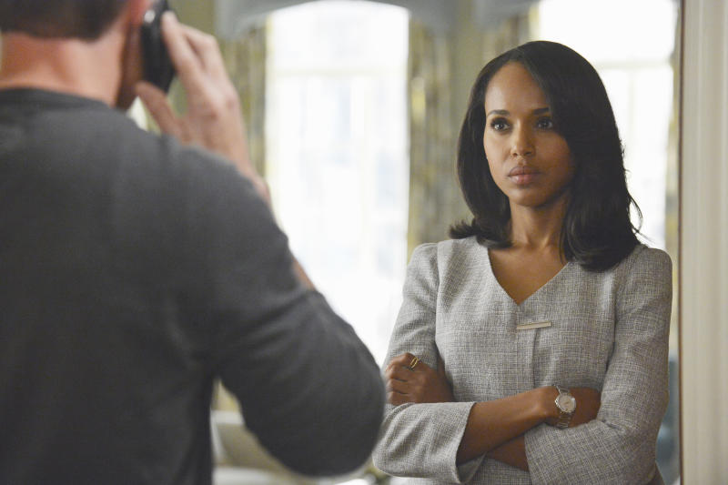 """This publicity image released by ABC shows Kerry Washington is in scene from """"Scandal."""" Washington was nominated for an Emmy Award for best actress in a drama series for her role as Olivia Pope. The Academy of Television Arts & Sciences' Emmy ceremony will be hosted by Neil Patrick Harris. It will air Sept. 22 on CBS. (AP Photo/ABC, Eric McCandless)"""